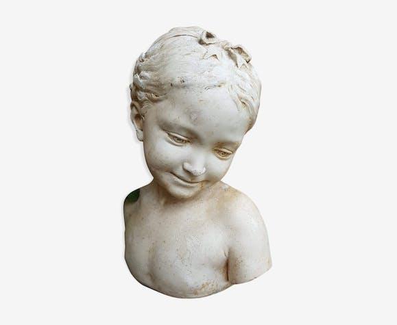 """Buste plâtre """"la florentine"""" dite """"la rieuse"""" d'après Jean-Baptiste Pigalle"""