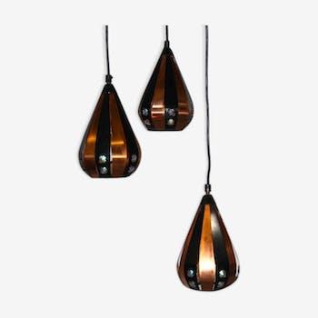 Lampe suspension en cuivre Werner Schou avec trois gouttes