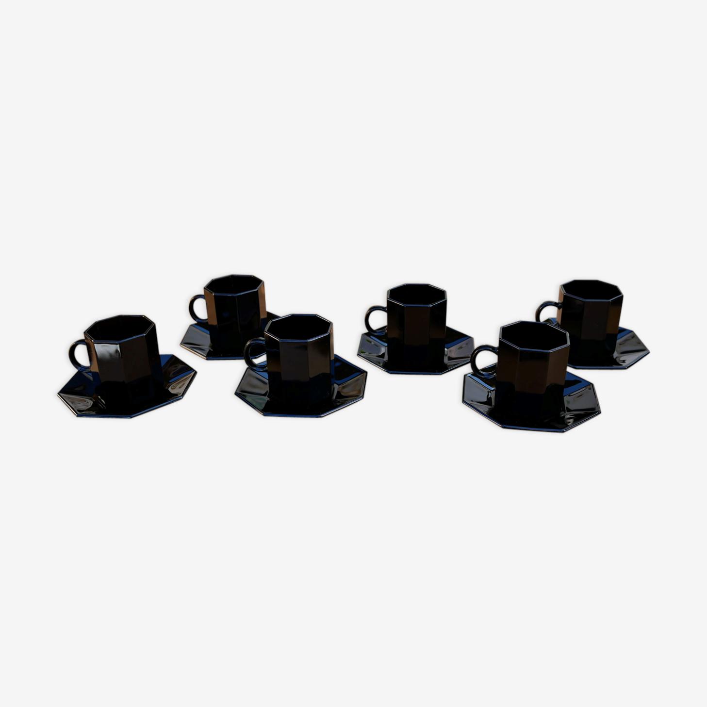 Set de 6 tasses et sous tasses noires vintage