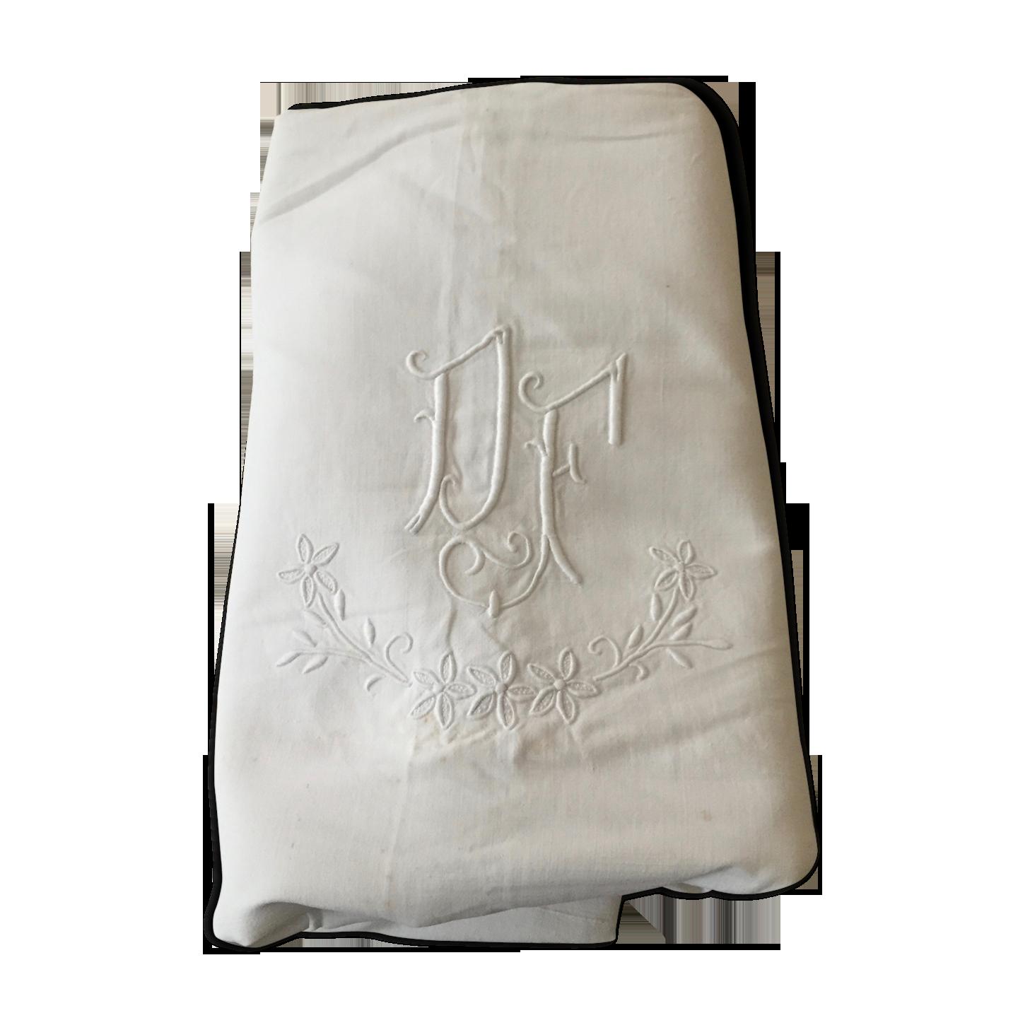 Drap ancien brodé monogramme DF - tissu -