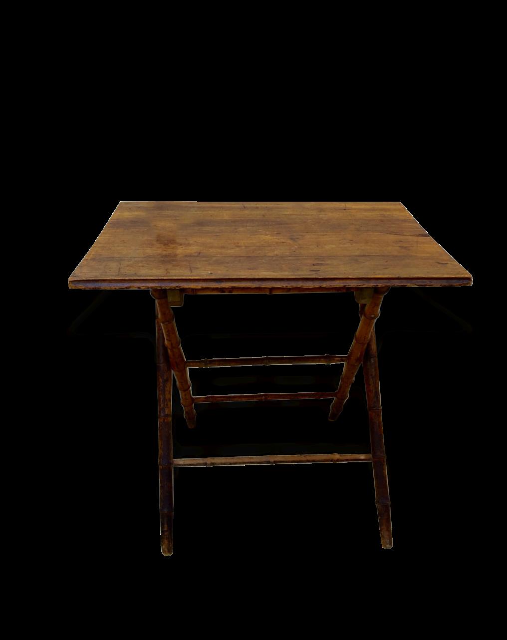 Table Ancienne Pliante Pieds Bois Massif Imitation Rotin 1920