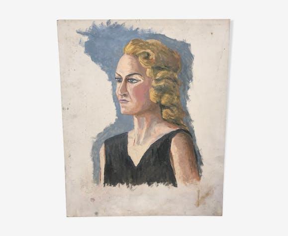 Portrait à l'huile vintage
