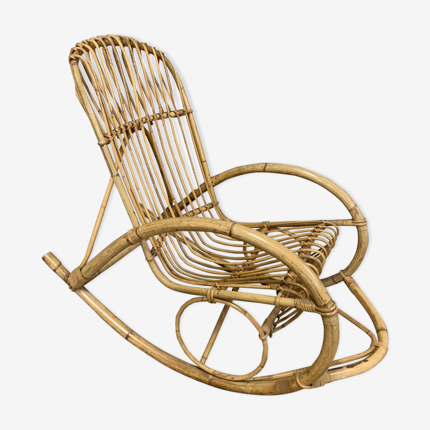 Rocking-chair en rotin 1960
