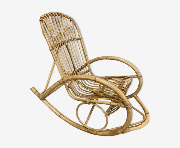 Rocking-chair en rotin 1960