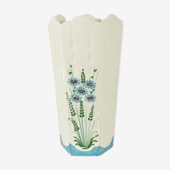 Vase à six pans motif floral