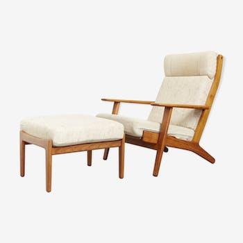 "Hans J.Wegner Lounge Chair+Ottomane GE 290 ""The Plank"" for Getama"