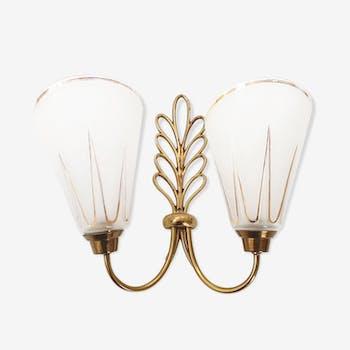Golden brass leaf sconce 1960