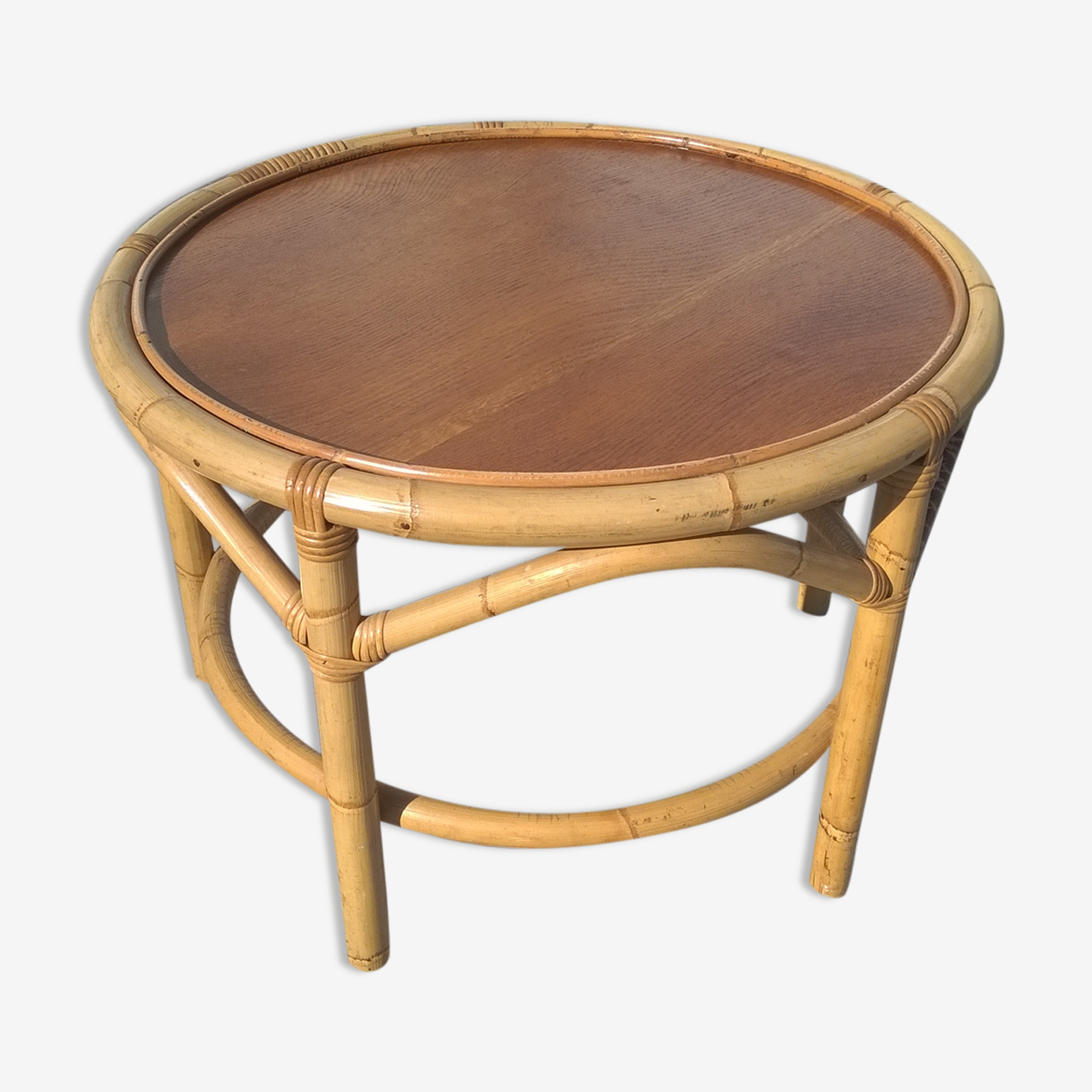 low bamboo and rattan table