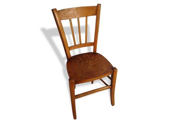 chaise ancienne bistrot en bois brut assise dessin sculpt. Black Bedroom Furniture Sets. Home Design Ideas