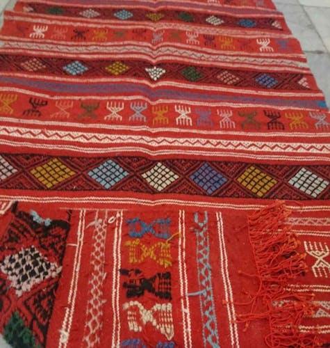 Tapis kilim berbère en pure laine 100x200cm