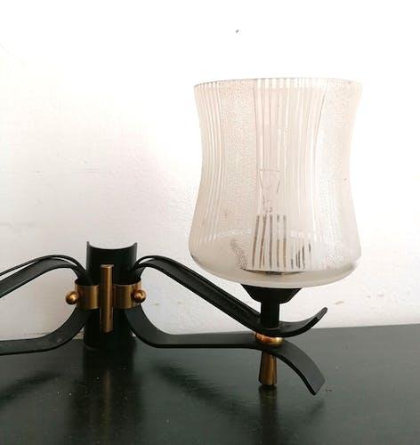 Applique double en métal et verres gravés, 1950
