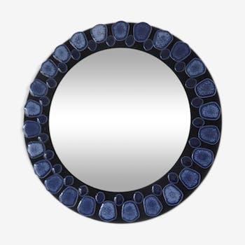 Miroir rond en céramique bleue années 60 70