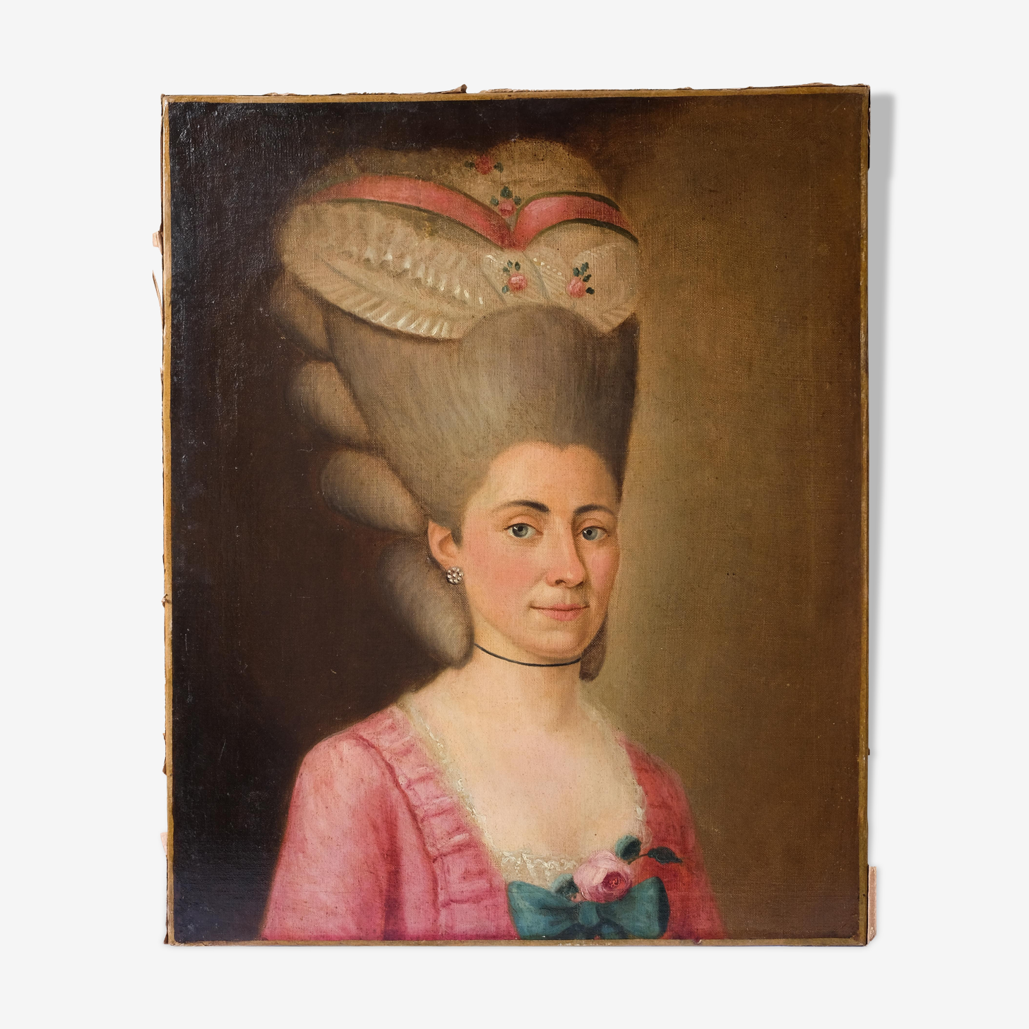 18th ancient painting, portrait of female haircut 18th