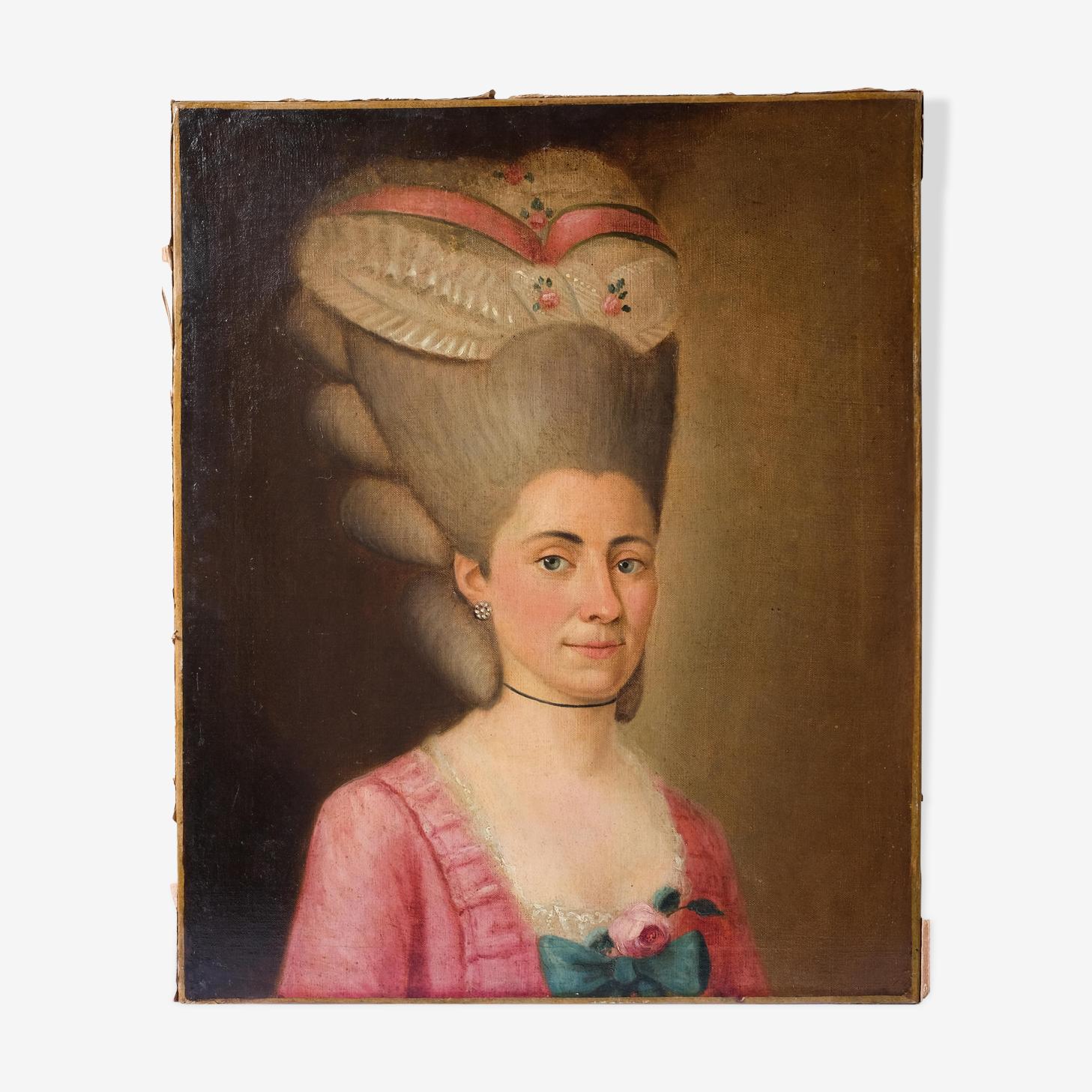 Peinture ancienne XVIIIe portait de femme coupe de cheveux 18ème