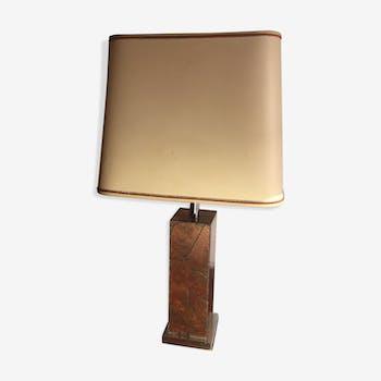 Lampe motif feuilles incrustées sur cuivre 1970