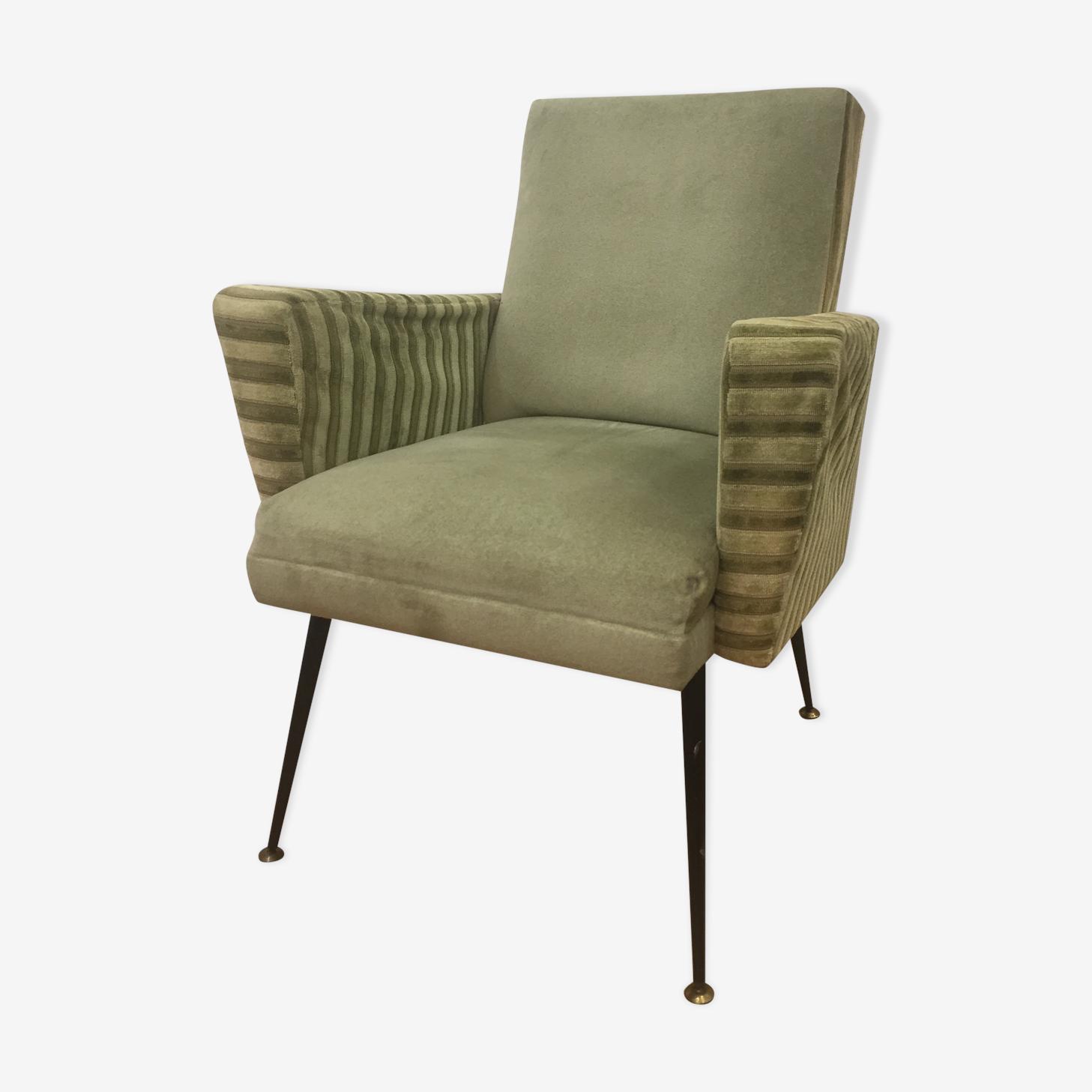 Fauteuil design italien 1960 tissu vert vintage WDsiAXr