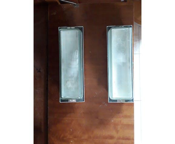 Paire appliques rectangle industrielle