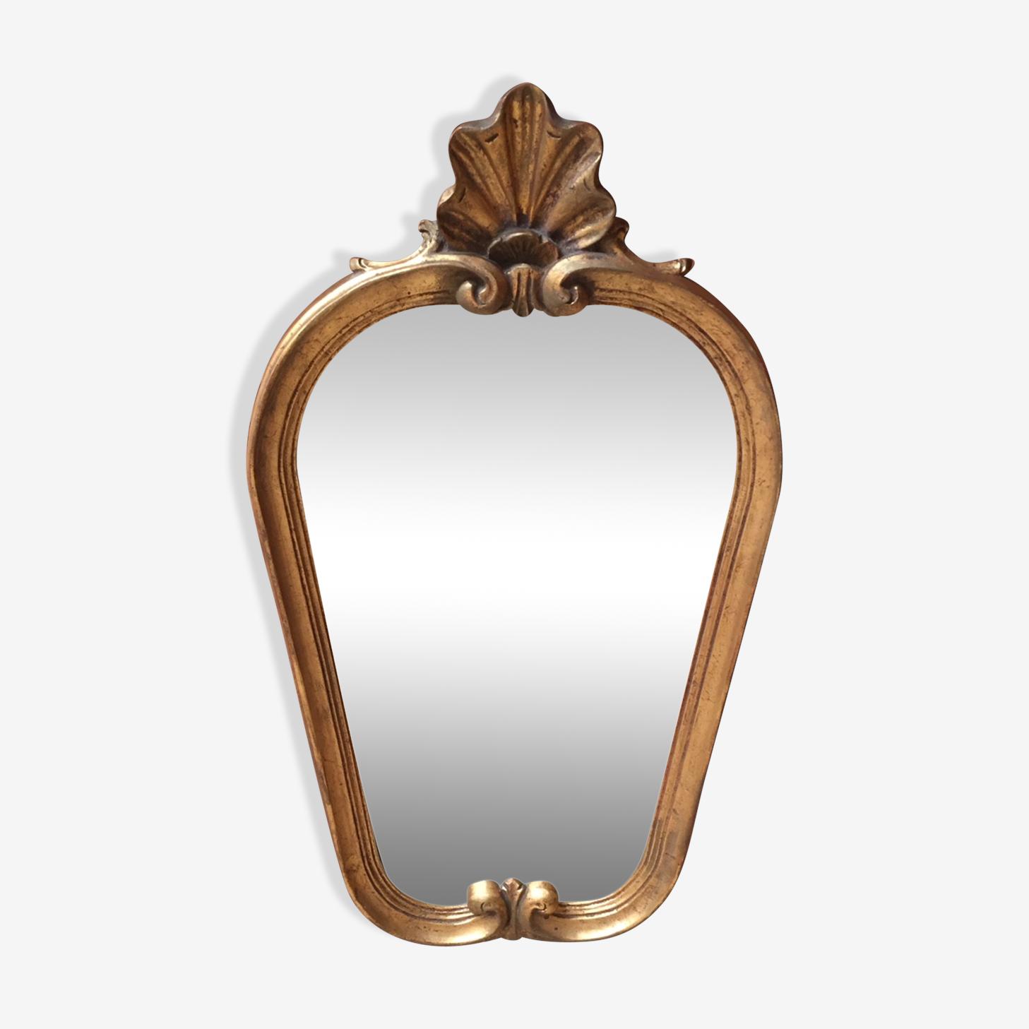 Miroir doré style rocaille 28x57cm