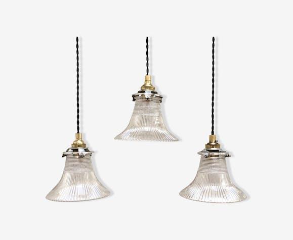 "Holophane pendant lights trio ""tulip"""