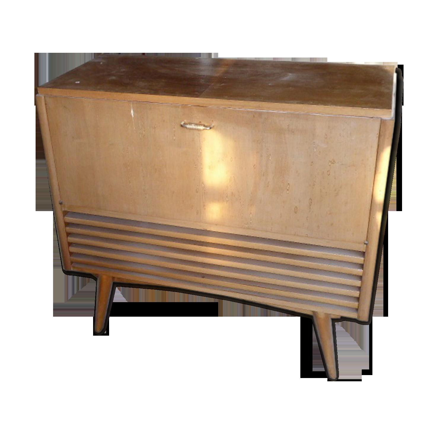 Meuble tsf tourne disque vintage bois massif bois matériau