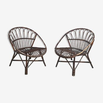 Paire de fauteuils en rotin circa 1950