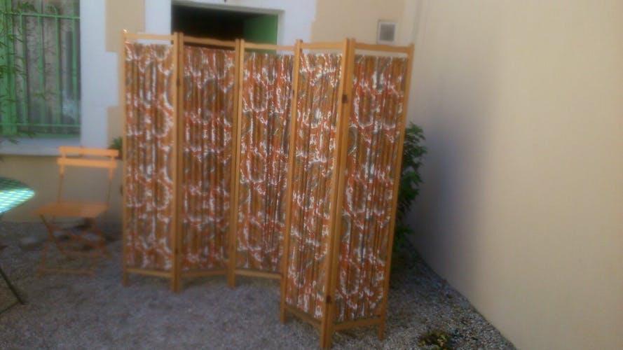 Paravent en bois à six panneaux vintage
