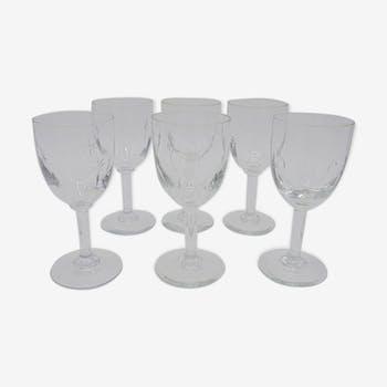 Série de 6 petits verres à pied en cristal