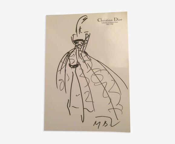 Illustration de mode de presse Christian Dior  fin des années 80