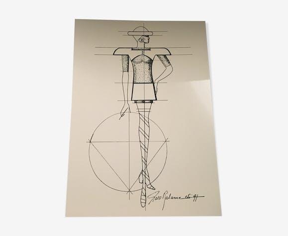 Illustration de mode de presse par Paco Rabanne croquis collection des années 90