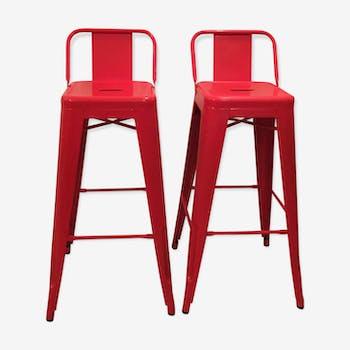 Lot de 2 chaises de bar Tolix rouge