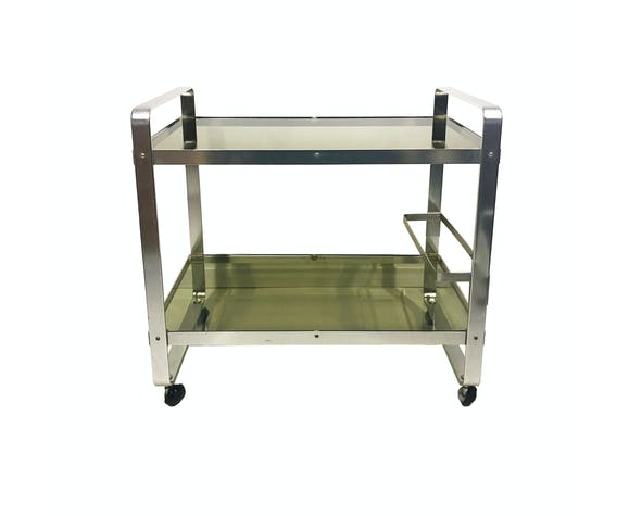 Av Handwerk Space Age Drinks Bar Cart Trolley Chrome Midcentury Modern Smoked Glass