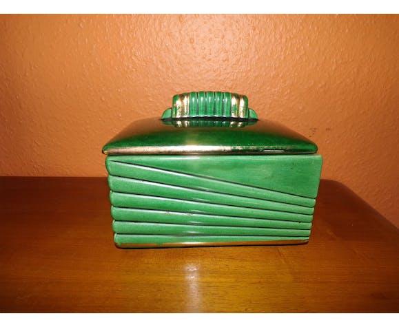 Art Deco candy in Green Porcelain, Saint Clement's Faïence, B Letalle