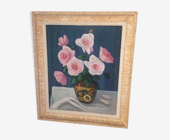 Tableau nature morte avec fleurs années 30/40