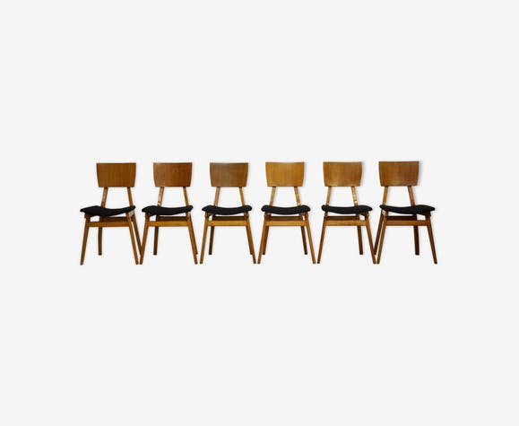 Set de 6 chaises en bois massif et placage, France, 1950s