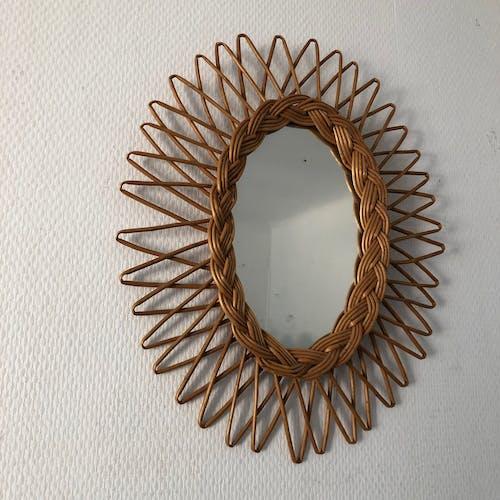 Mirror Sun rattan oval vintage 1960 40x33cm