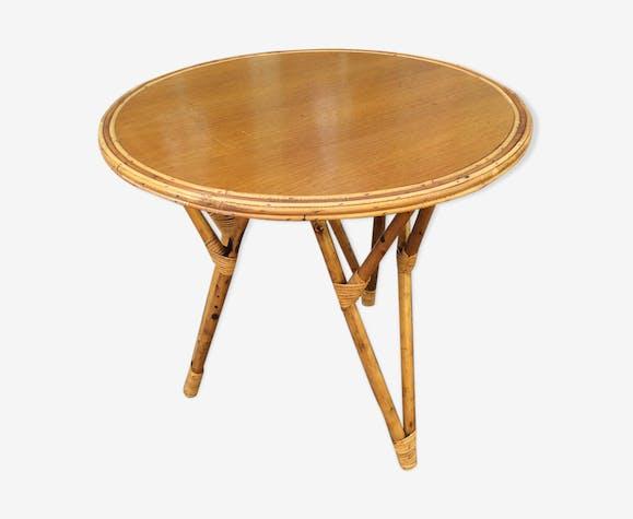 Table ronde en rotin année 50