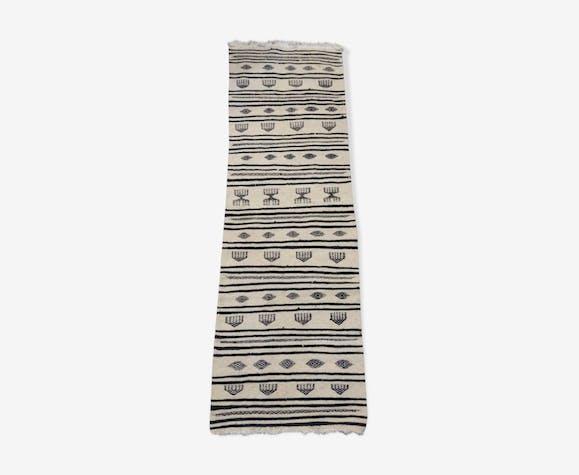 Couloir kilim blanc et noir, 195x65 cm