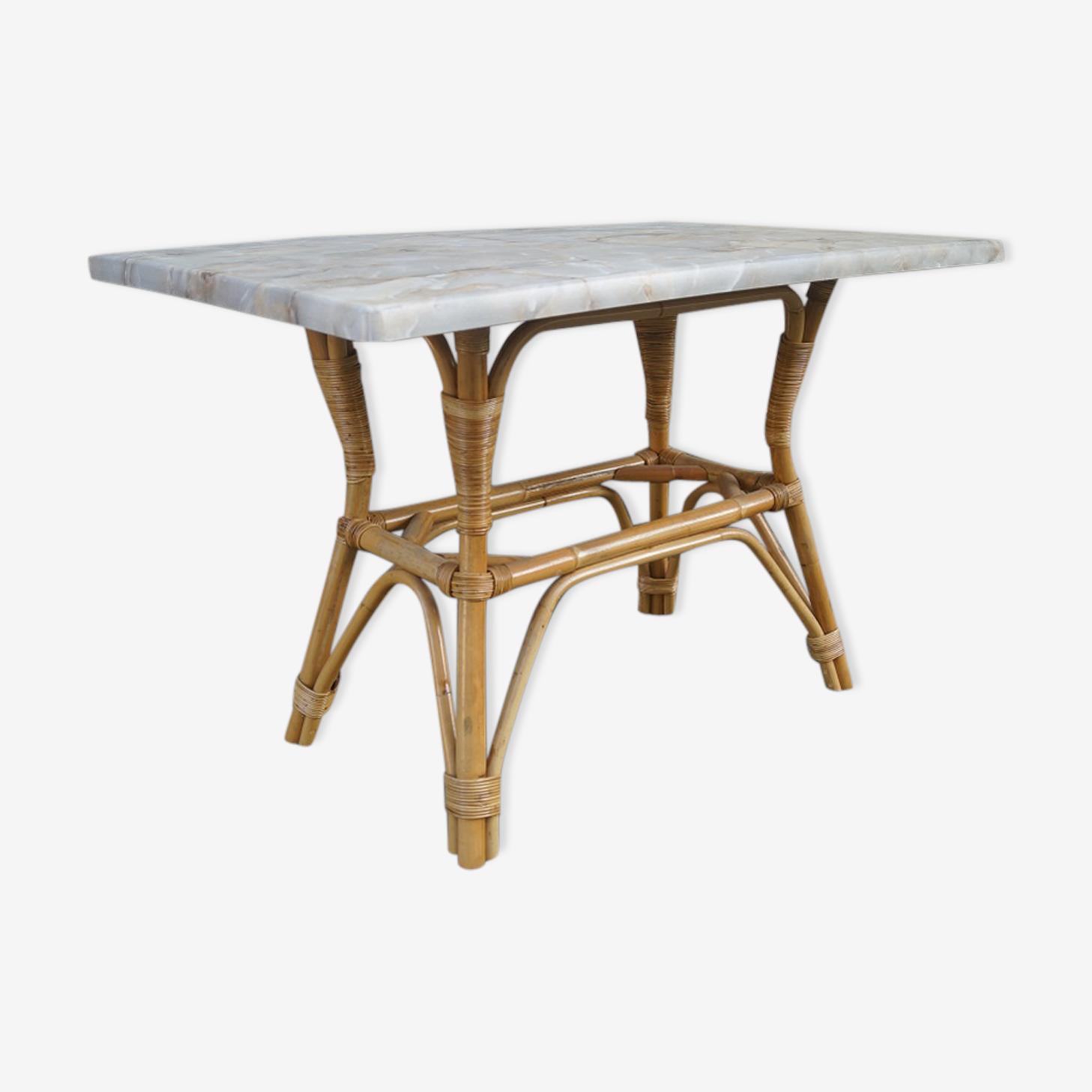 Table en rotin vintage 1970