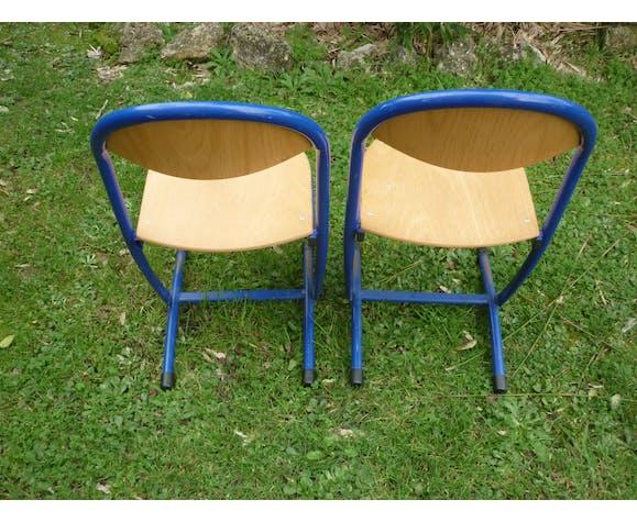 Paire de chaises ecolier bois et metal bleu