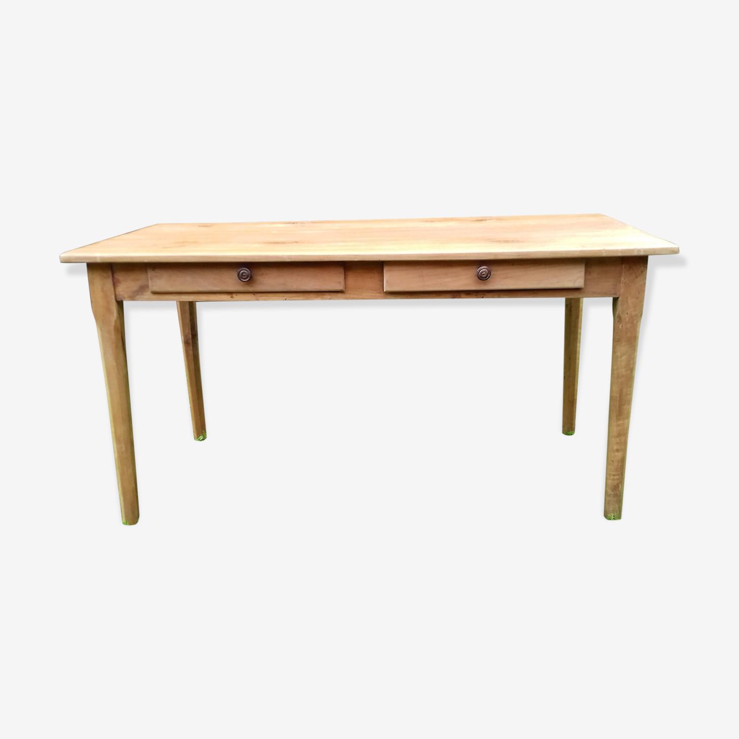 Table ancienne en merisier massif 2 tiroirs