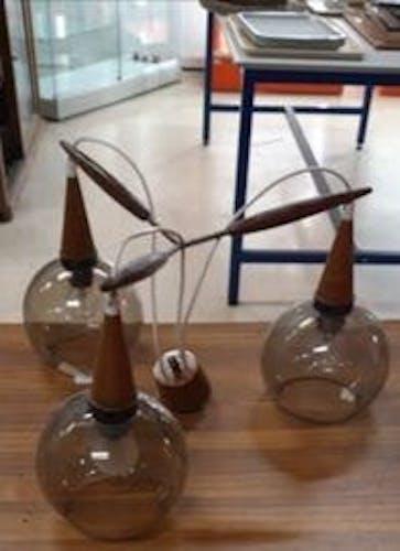 Ancien Lustre cascade Louis Kalff 3 globes verre fumé vintage