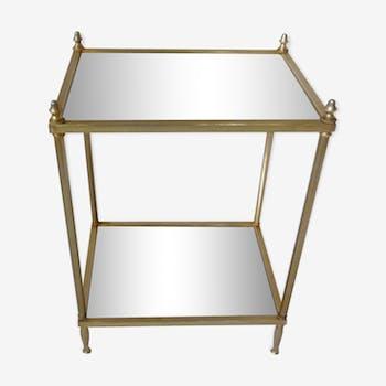 Table en laiton doré et miroir