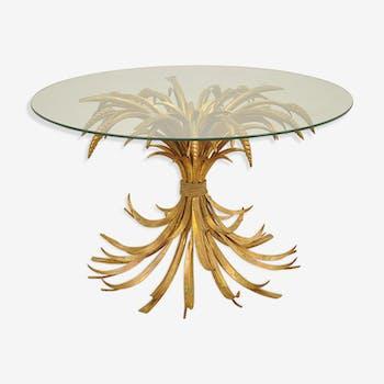 Table basse avec structure en blé doré Hollywood Regency années 1970