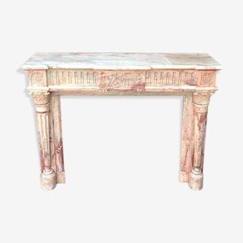 Cadre de cheminée de style Louis XVI en marbre