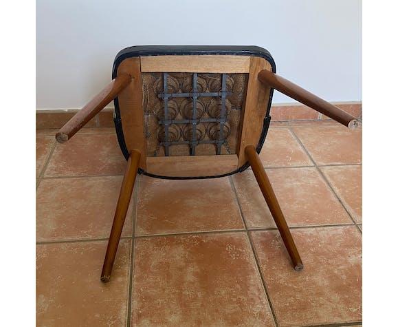 Paire de chaises cocktail vintage skaï jaune et noir 1950/60
