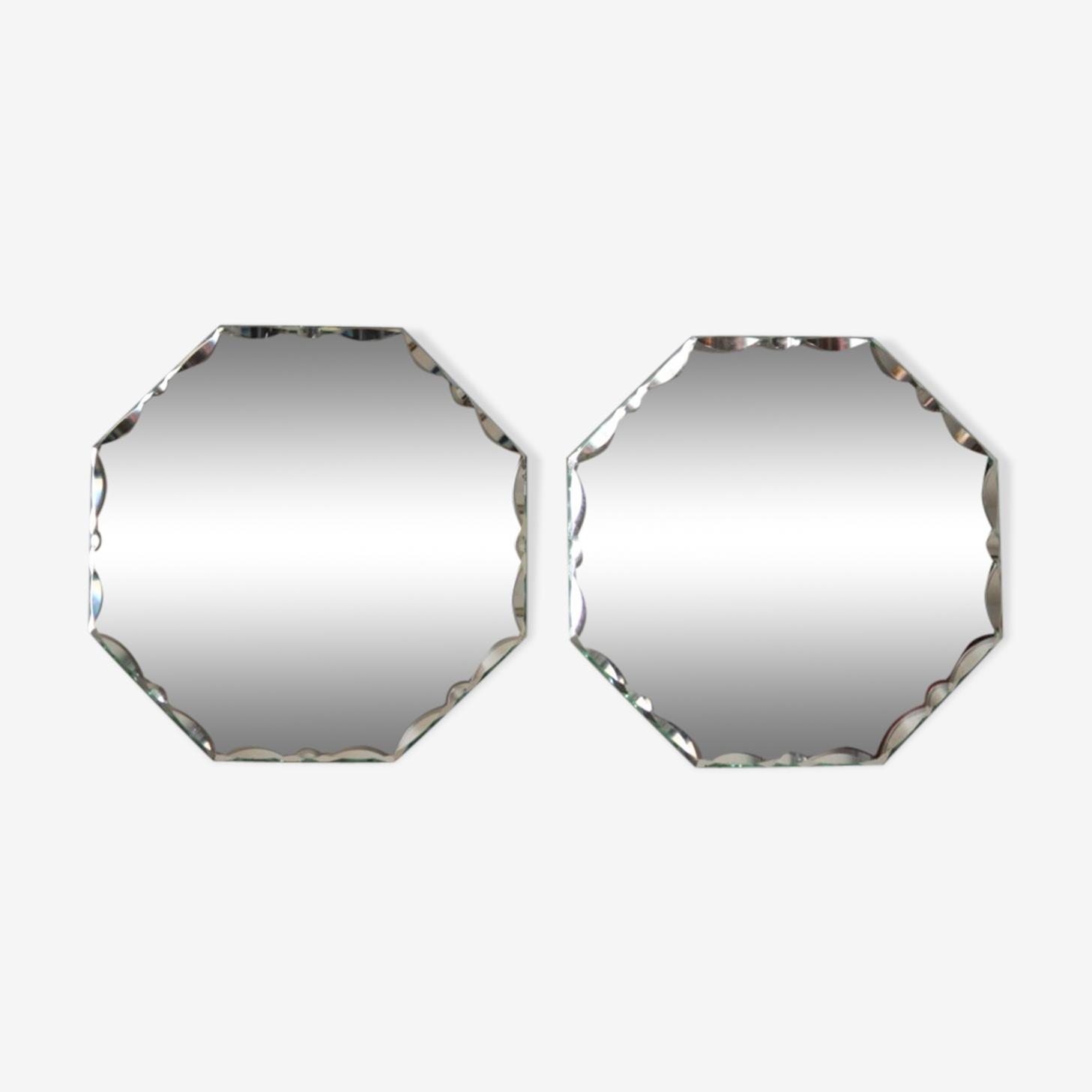 Paire de miroirs biseautés 18x18cm