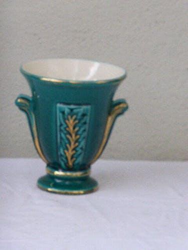 Amphora green enameled ceramic vase