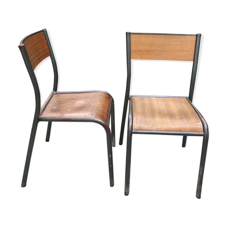 Chaise D École Mullca set de 2 chaises d'école mullca 510 de 1960 - métal - bois