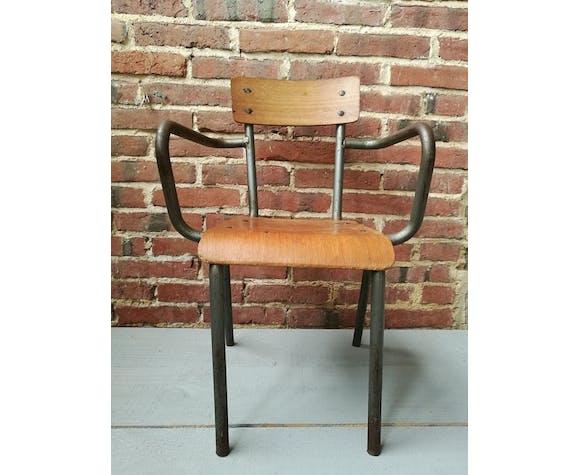 Ancienne chaise d'école Mullca avec accoudoirs | Selency