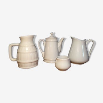Trio of pitchers and jam jar
